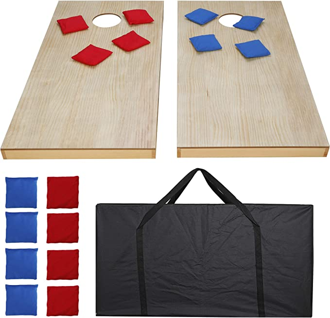 ZENSTYLE Portable Bean Bag Cornhole Toss Game Set Aluminum Frame Regulation Size Cornhole Boards w// 8 Bean Bags and Carrying Case Ideal Toss Game Choice for Outdoor and Indoor Activities