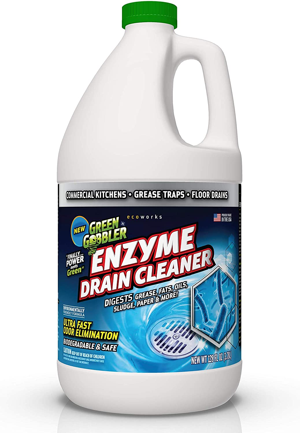 Green Gobbler ENZYMES for Grease Trap & Sewer - Controls Foul Odors & Breaks Down Grease, Paper, Fat & Oil in Sewer Lines, Septic Tanks & Grease Traps (1 Gallon): Health & Personal Care