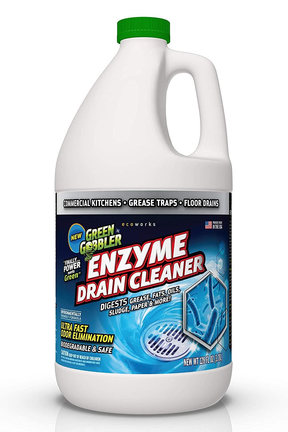 Green Gobbler ENZYMES for Grease Trap & Sewer - Controls Foul Odors & Breaks Down Grease, Paper, Fat & Oil in Sewer Lines, Septic Tanks & Grease Traps (1 Gallon)