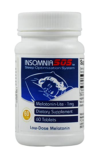 MELATONIN SLEEP AID 1MG PHARMACEUTICAL GRADE PURE NATURAL by Insomnia SOS - Tablet - 60 Count