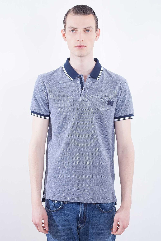 Timberland Hombre - Polo Slim fit de algodón Azul, con Cuello y ...