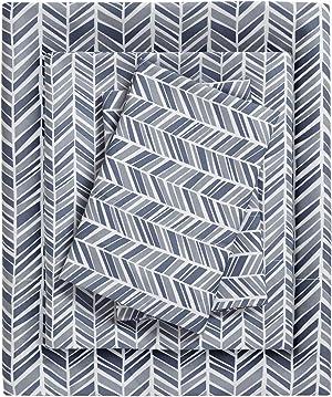 Madison Park Essentials Sheet Set Printed Ultra Soft, Queen, Navy