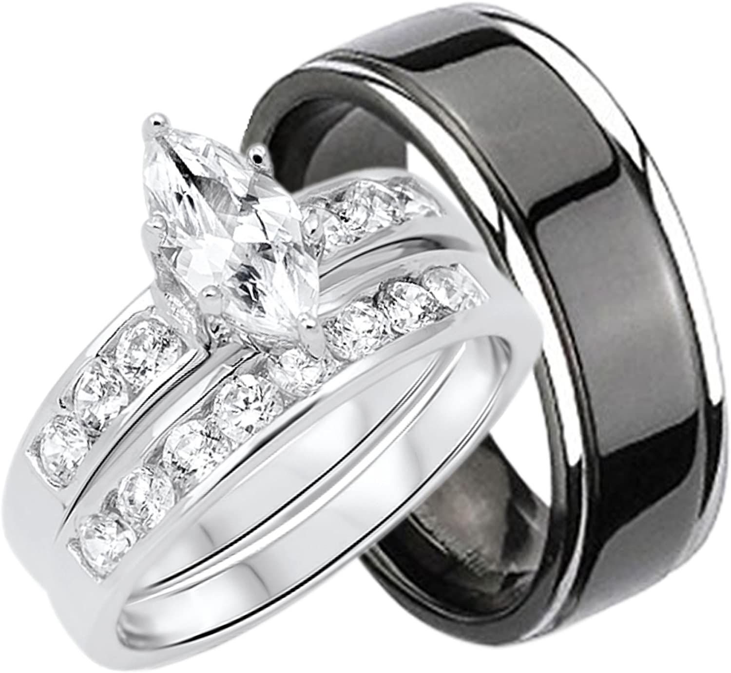 This is a photo of His and Hers Wedding Rings Set Sterling Silver Titanium Matching Bands for Him and Her