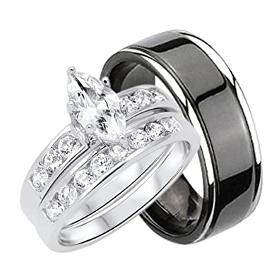 amazon com his and hers wedding rings set sterling silver titanium
