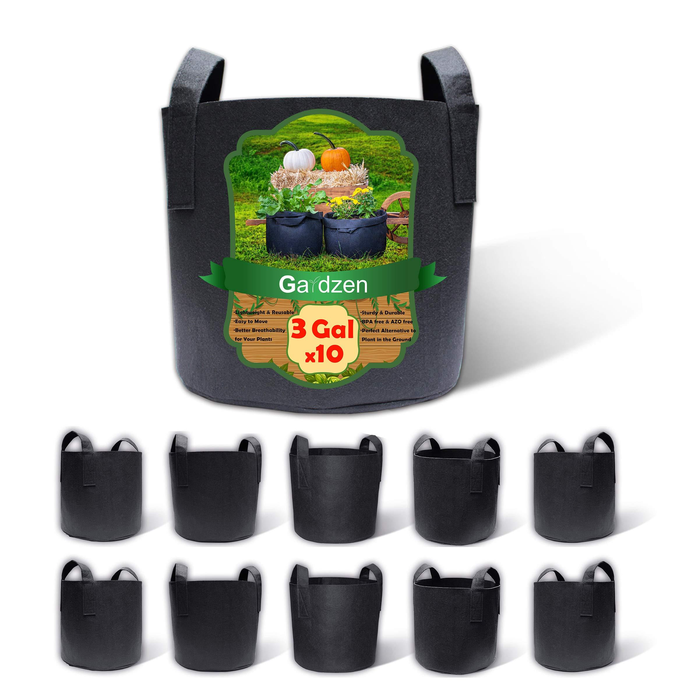 Gardzen 10-Pack 3 Gallons Grow Bags, Aeration Fabric Pots with Handles