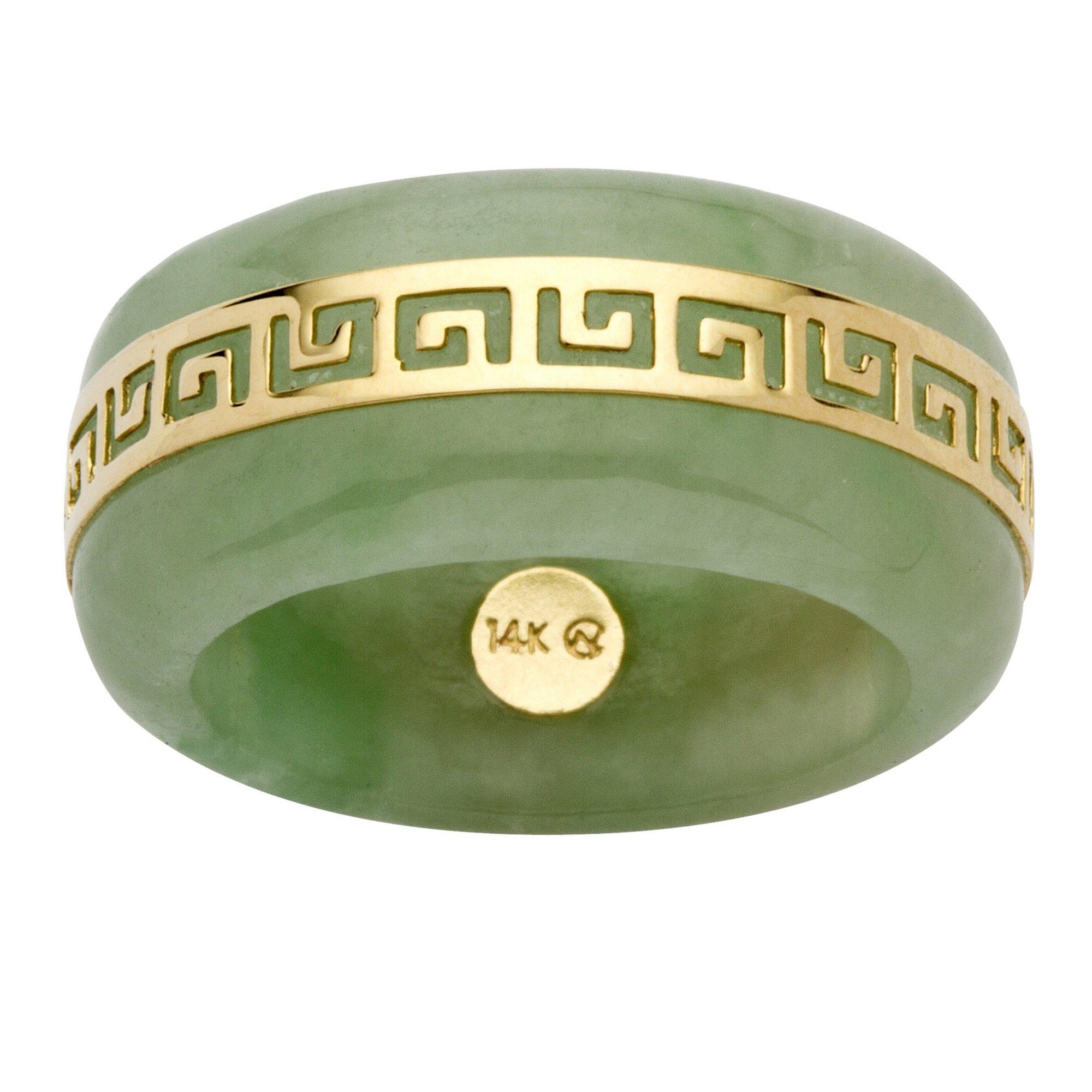 14K Yellow Gold Round Genuine Green Jade Greek Key Ring Size 8