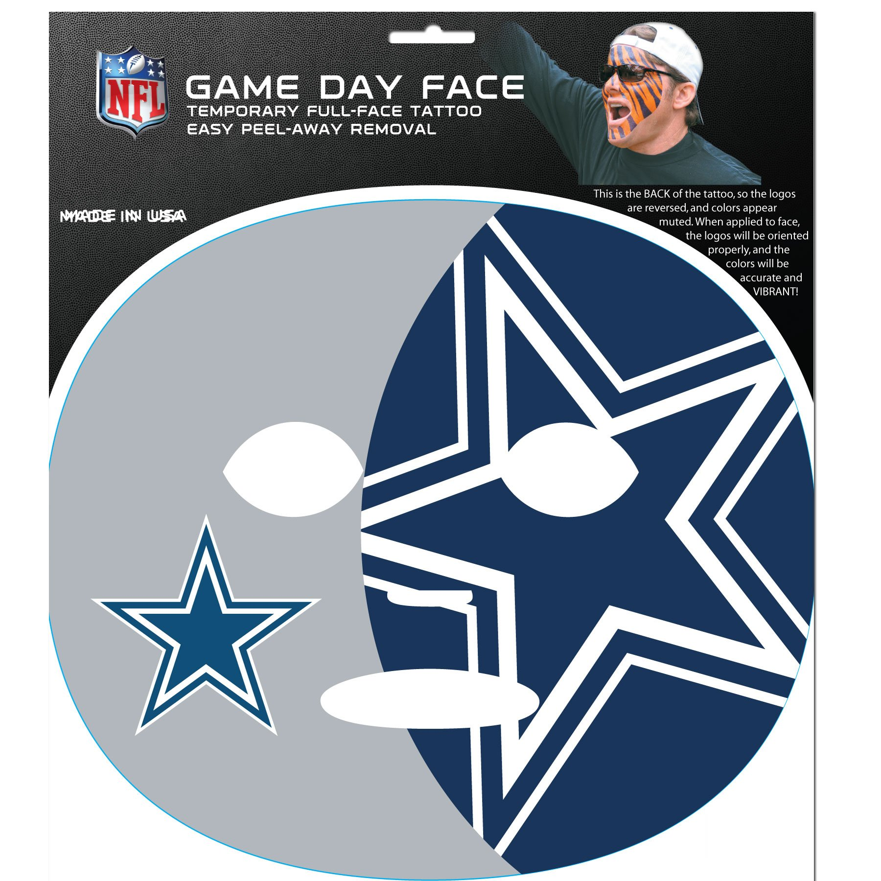 NFL Dallas Cowboys Game Day Face Decal