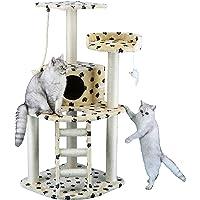 Go Pet Club 48-Inch Cat Tree Condo Scratching Post Furniture, Paw Print