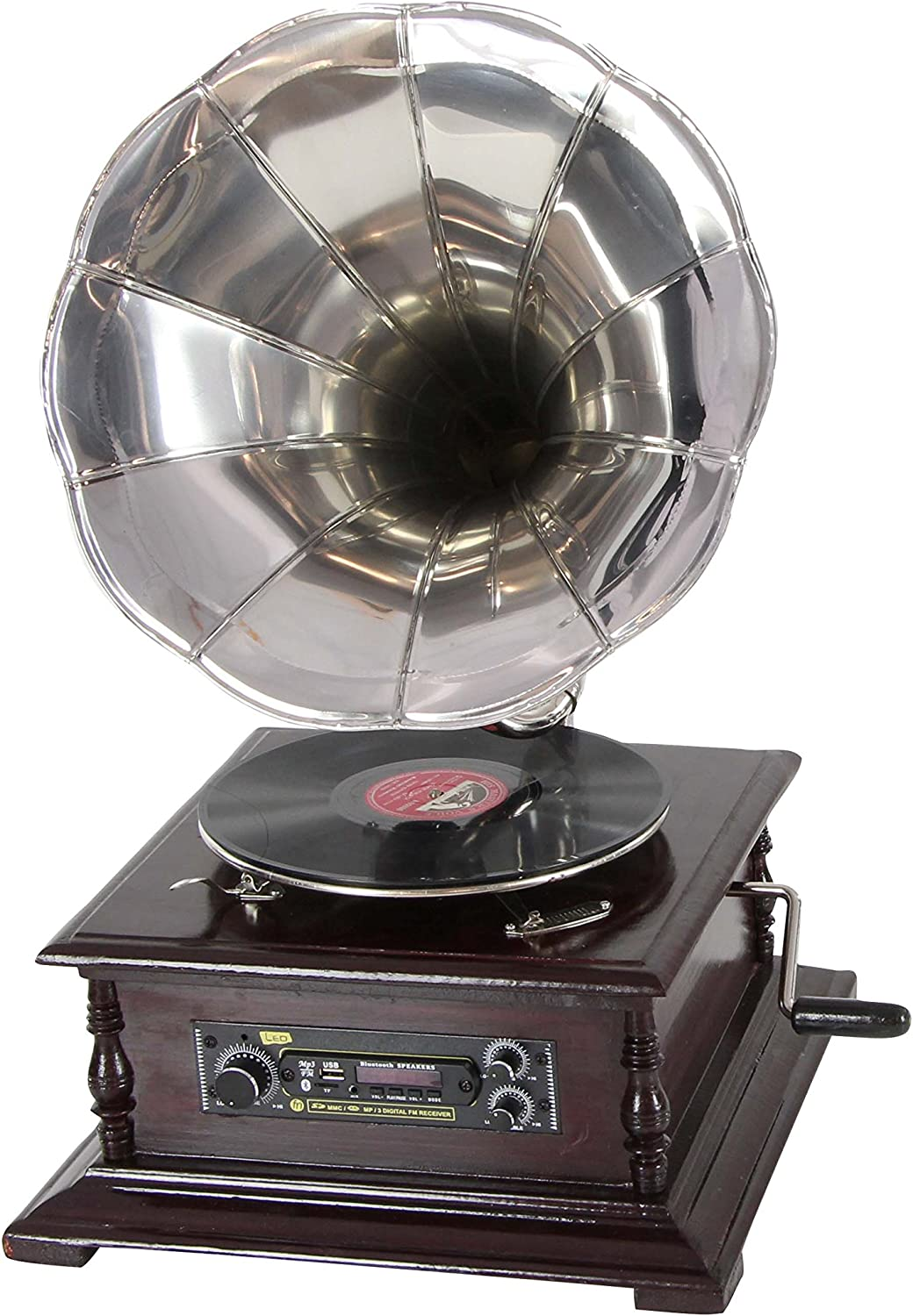 "Deco 79 Wood and Metal Gramaphone Vintage Decor, 15"" W x 26"" H, Silver, Dark Brown, Black"