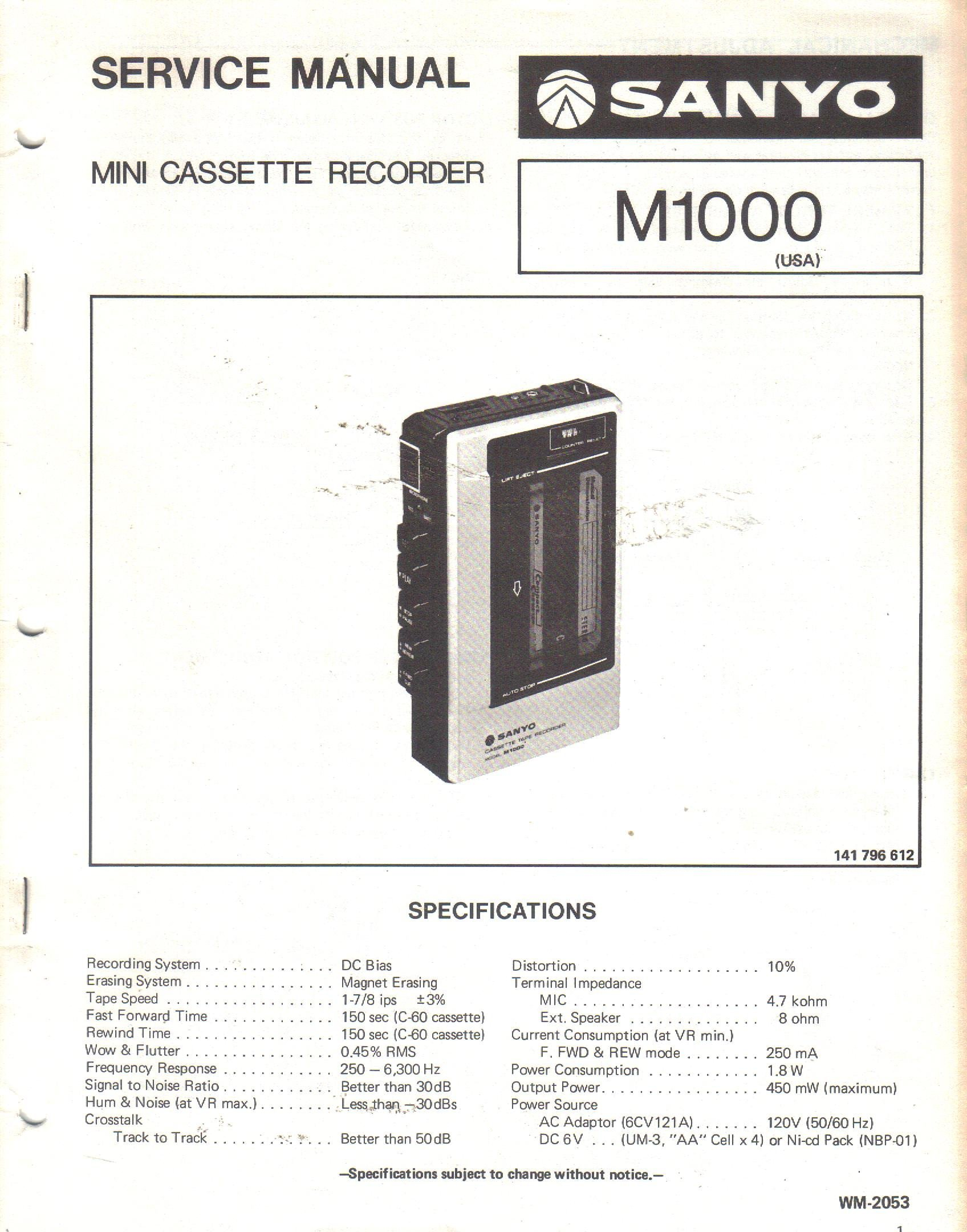 Sanyo M1000 Mini Cassette Recorder Service Manual: Sanyo Electric Inc, not  stated, Sanyo: Amazon.com: Books