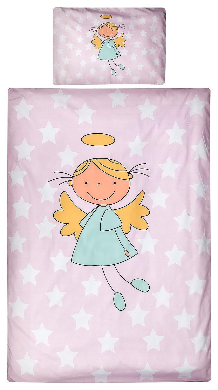 Aminata Kids Kinder-Bettwäsche Engel Sterne Star 100x135 cm rosa Weiss-e Engelchen Stern Sternchen Baumwolle Reissverschluss süß-e Putte Schutz-Engel