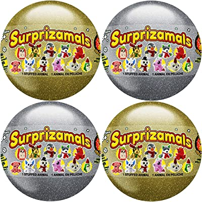 Surprizamals Holiday Series 2 Balls with Collectible Plush Toy 4 Capsules: Toys & Games