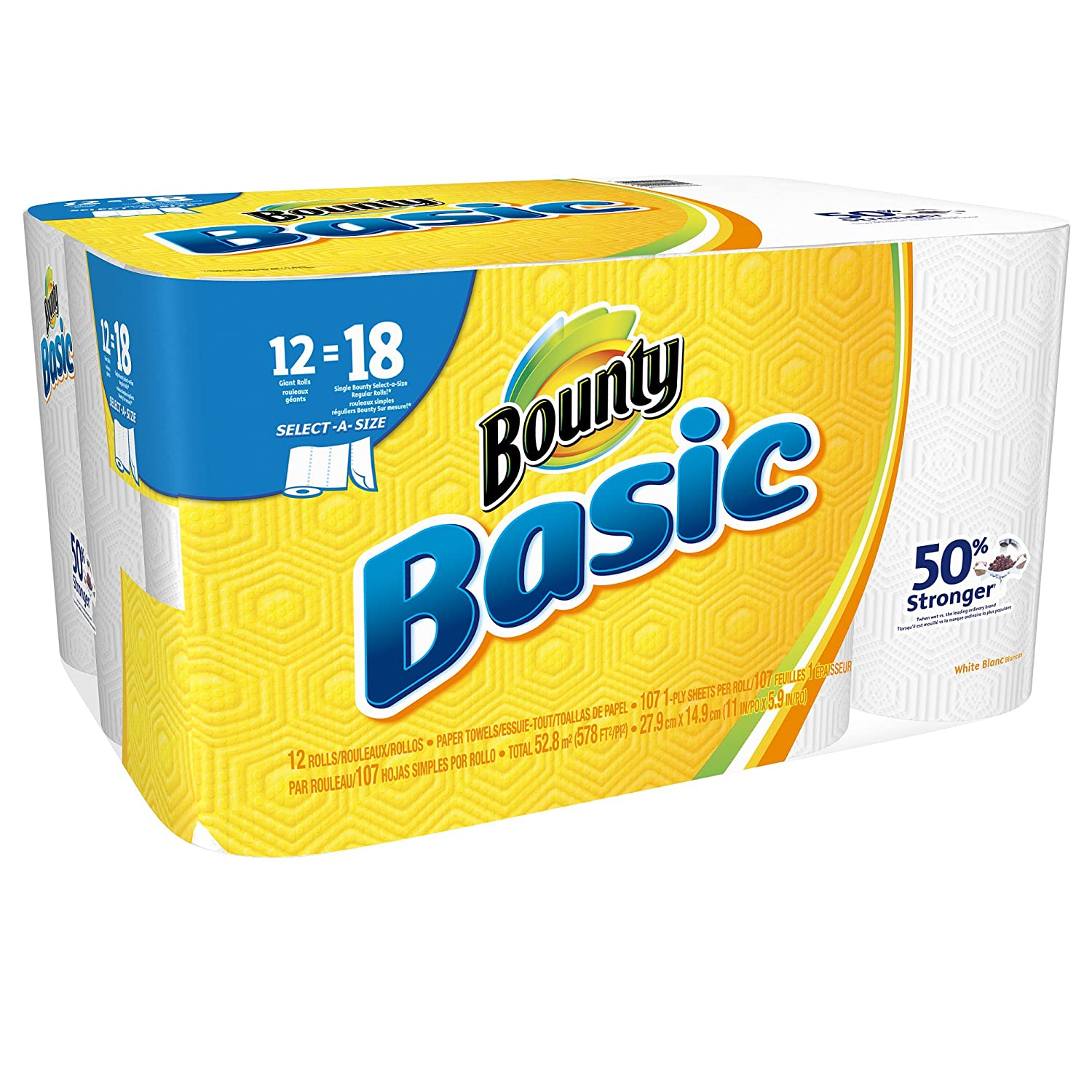 Amazon.com : Bounty Basic Select-a-Size Paper Towels, White, 12 Rolls : Grocery & Gourmet Food
