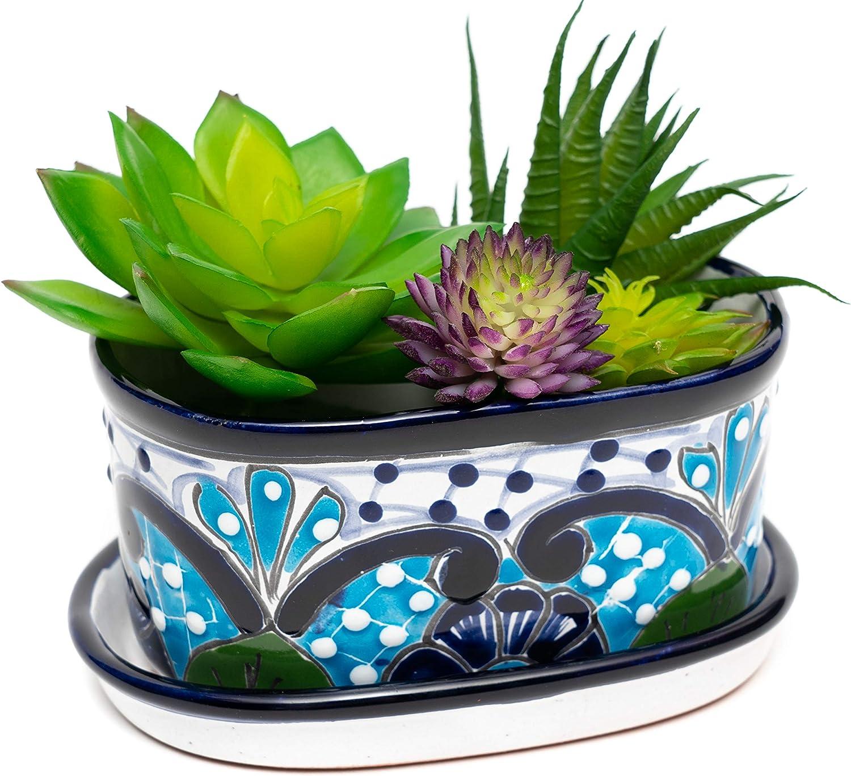 ENCHANTED TALAVERA Ceramic Succulent Pot Mini Flower Planter Cactus Bonsai Pot W/Drainage & Drip Dish Home Garden Office Desk Décor Gift Set (Turquoise/White)