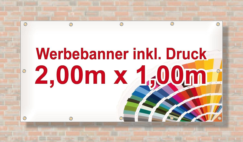 Werbebanner Werbeplane PVC-Plane Banner 200 x 100 cm inkl Druck und Ösen
