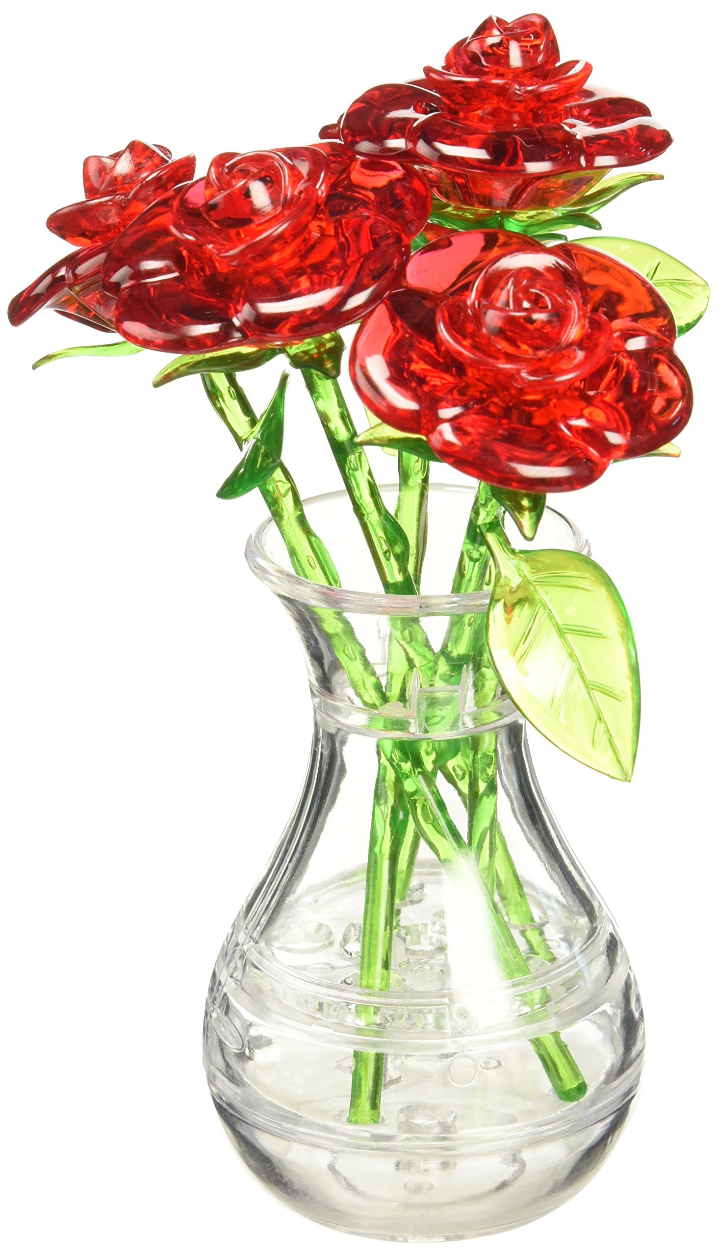 Amazon diy 3d crystal puzzle rose redyellowpinkblue bepuzzled original 3d roses in a vase crystal puzzle reviewsmspy