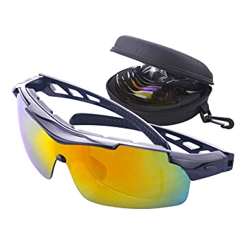 aff3038397 Bike Cycling Glasses Polarized Sports Sunglasses for Men and Women with  Strap Interchangeable Lens