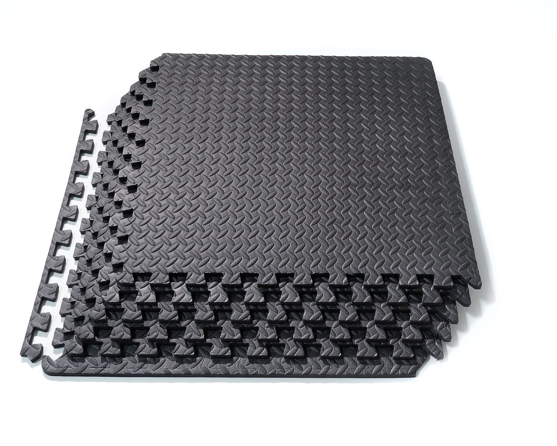 Basics Hardware Interlocking EVA Foam Tiles Puzzle Exercise Mat, Protective Flooring Gym Equipment Cushion Workouts (Black 6 Tiles)