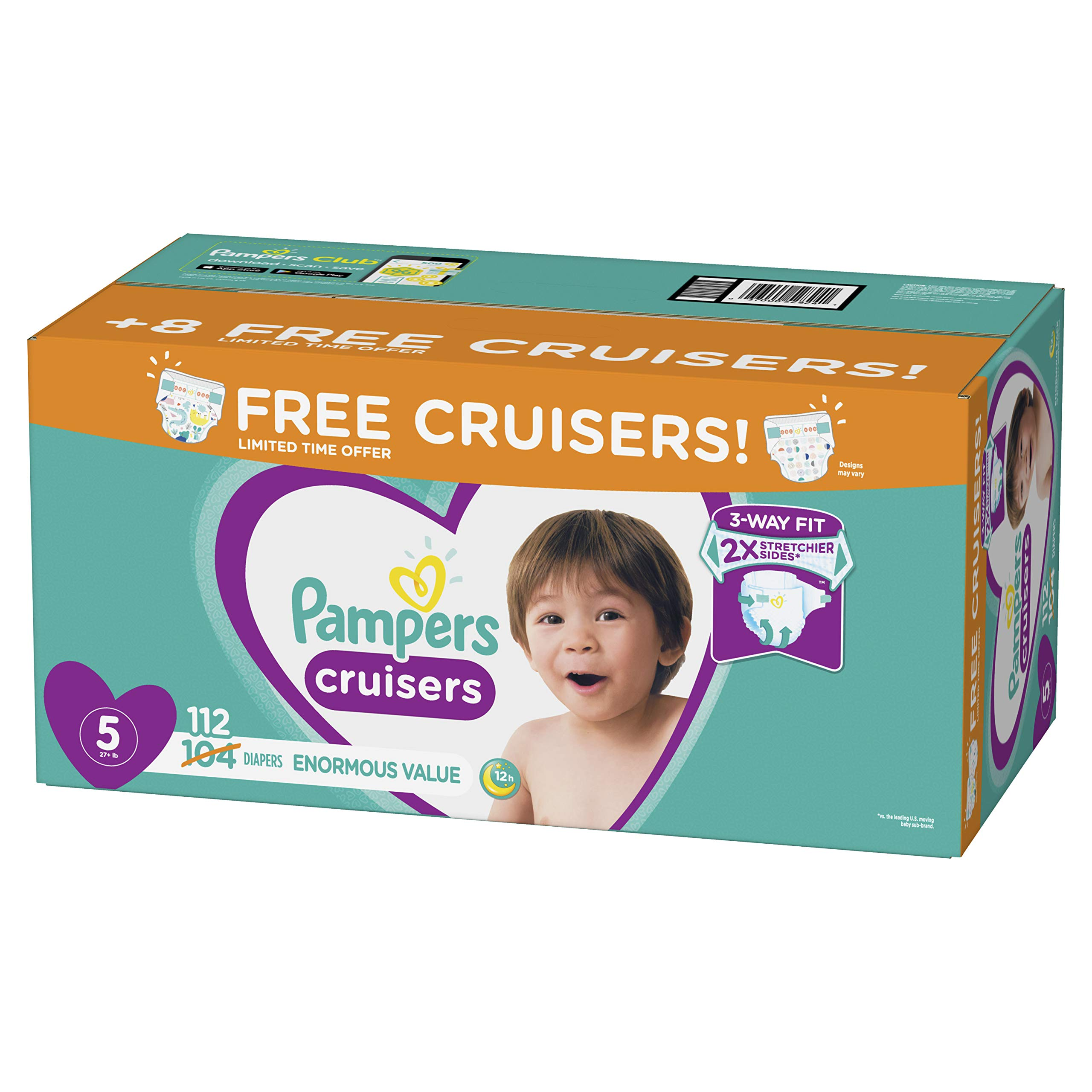 Diapers Size 5, 112 Count - Pampers Cruisers Disposable Baby Diapers, Enormous Pack, Plus Bonus Diapers by Pampers
