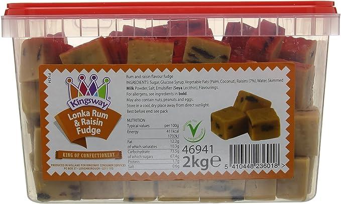 Lonka - Fudge (2 kg, sabor a ron y pasas): Amazon.es ...