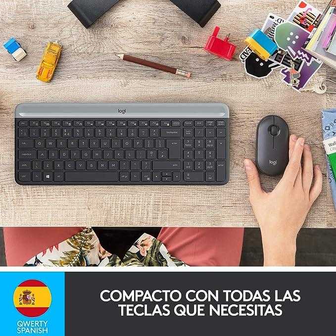Logitech MK470 Combo Teclado y Ratón Inalámbrico para Windows, 2.4 GHz con Receptor USB Unifying, Diseño Compacto, Batería de Adecuada Duración, Disposición QWERTY Español, Negro: Amazon.es: Informática