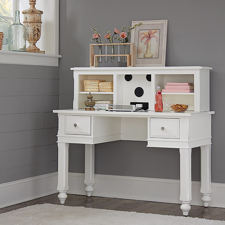 NE Kids Lake House Writing Desk with Hutch in White