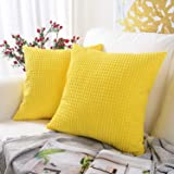 MERNETTE Pack of 2, Corduroy Soft Decorative Square Throw Pillow Cover Cushion Covers Pillowcase, Home Decor Decorations for