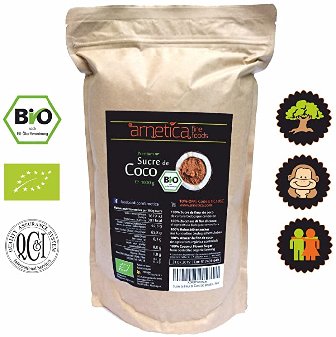 Azúcar de Coco Orgánico arnetica, 1000g 1kg Azúcar de Flor de Coco Bio, Non