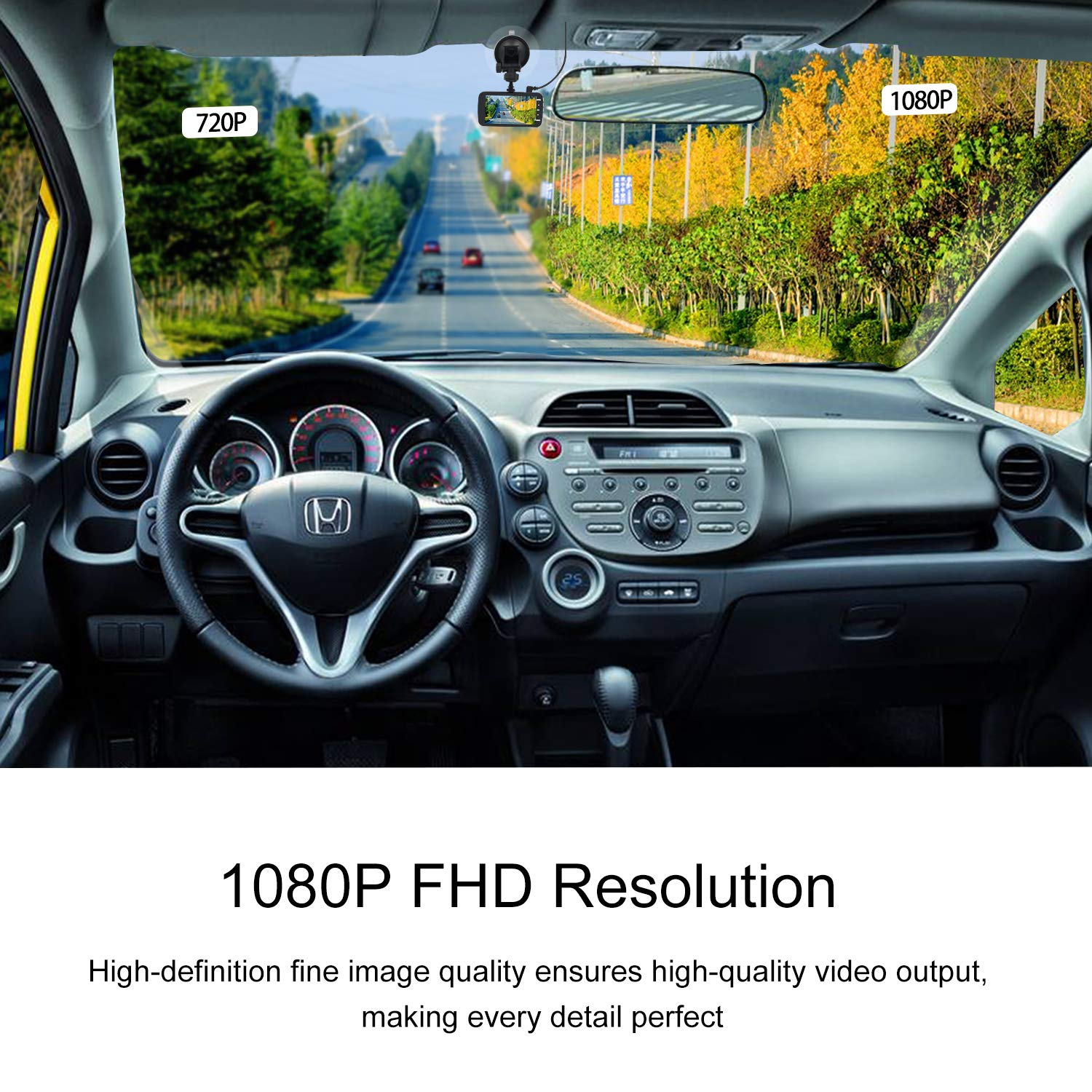 """Dash Cam,HD 1080P Car Camera 4/"""" LCD Screen Dual Cam Front and Rear One Dash Video Recorder Dashboard Camera with 170/°Wide Angle Night Vision G-Sensor Parking Monitor Loop Recording Motion Detector CAMAKT"""
