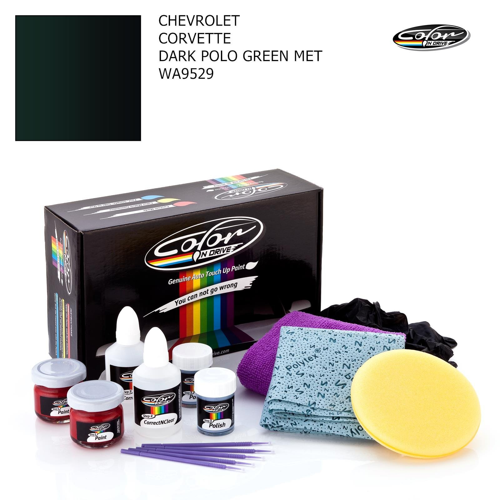 CHEVROLET CORVETTE / DARK POLO GREEN MET - WA9529 / COLOR N DRIVE TOUCH UP PAINT SYSTEM FOR PAINT CHIPS AND SCRATCHES / PRO PACK