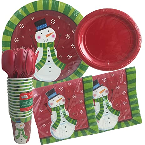 Christmas Snowman Disposable Dinnerware Set and Holiday Party Bundle - Snowman - 14 guests 144  sc 1 st  Amazon.com & Amazon.com: Christmas Snowman Disposable Dinnerware Set and Holiday ...