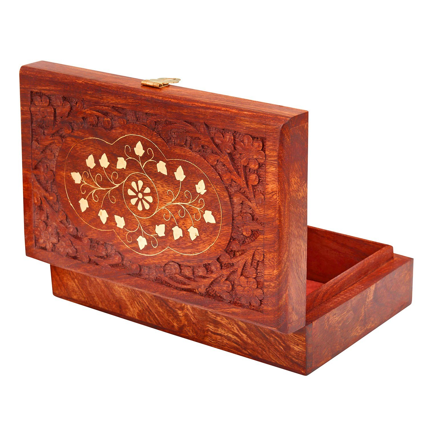 Great Birthday Gift Ideas Handmade Decorative Wooden Jewelry Box With Free Lock Key Organizer Keepsake Treasure Chest Trinket Holder