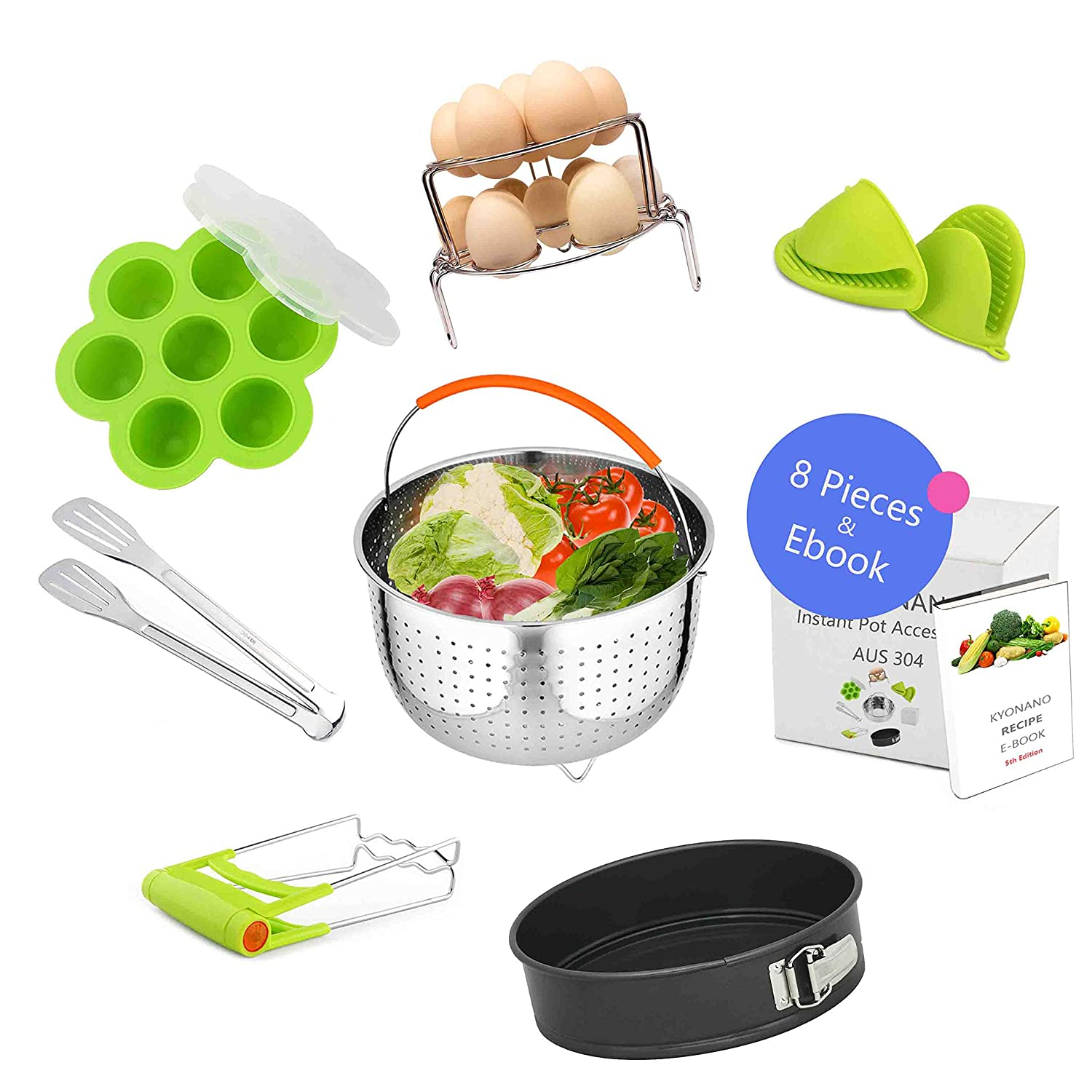 Instant Pot Accessories Set 8 Pcs Compatible with Instant Pot 5 6 8QT Include Steamer Basket, Springform Pan, Egg Steamer Rack Set, Egg Bites Mold, Tong, Plate Gripper, Silicone Gloves Kyonano