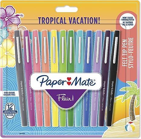 aliexpress 50% de réduction nouvelles promotions Paper Mate Flair Felt Tip Pens, Medium Point (0.7mm), Tropical Colours, 12  Count