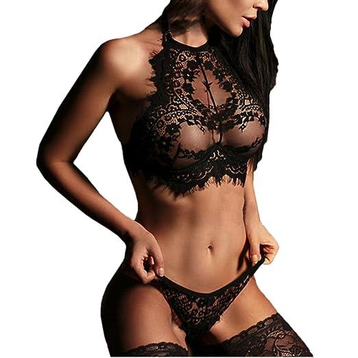 47f7f23720cbd Challyhope Women s Sexy Lingerie Set Halter Lace Bra +Panty Nighty Teddy  Babydoll Set (S