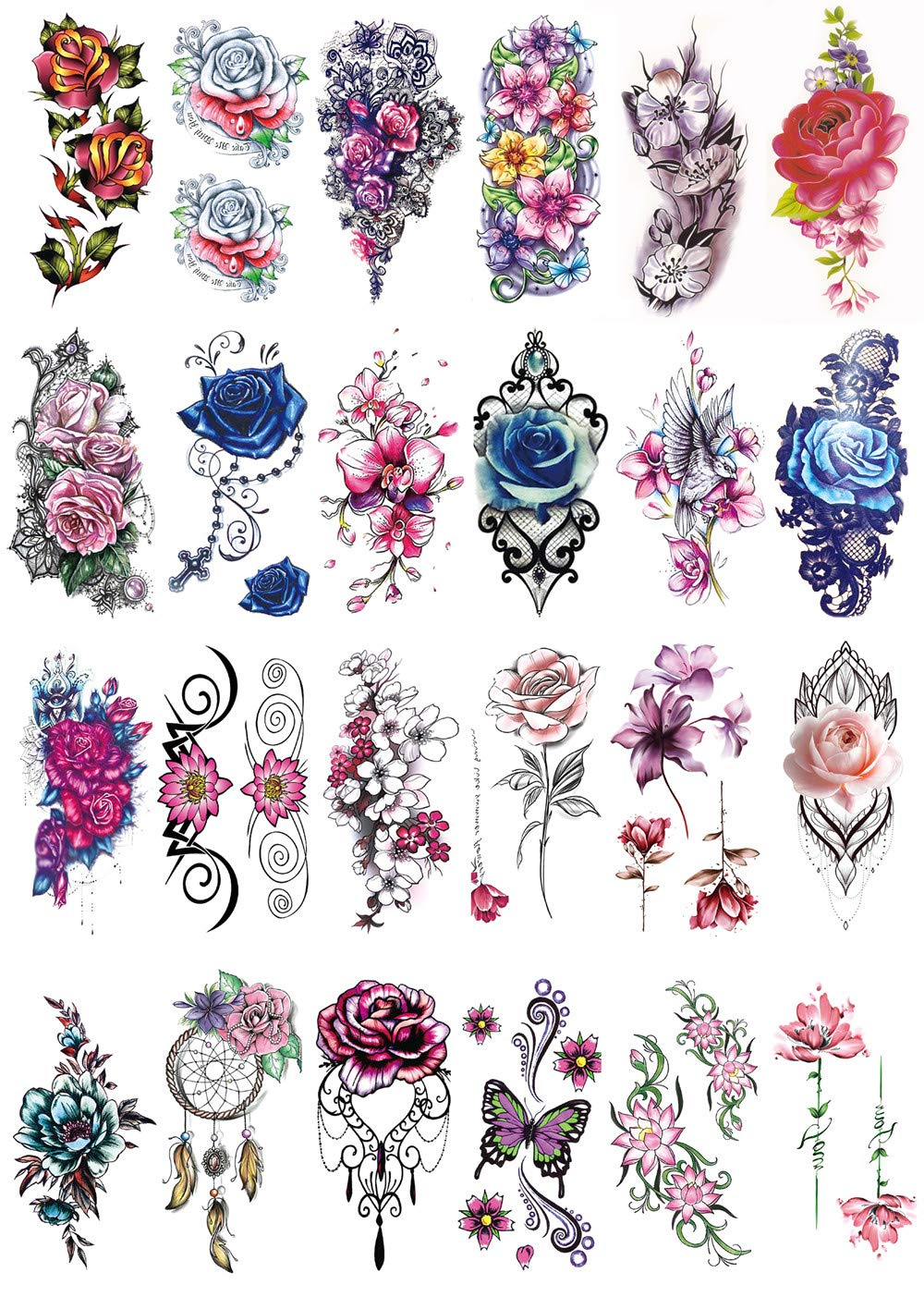 DaLin Large Temporary Tattoo Sleeves Fake Flower Tattoos for Women 24 Sheets (Colorful Flowers Collection 2)