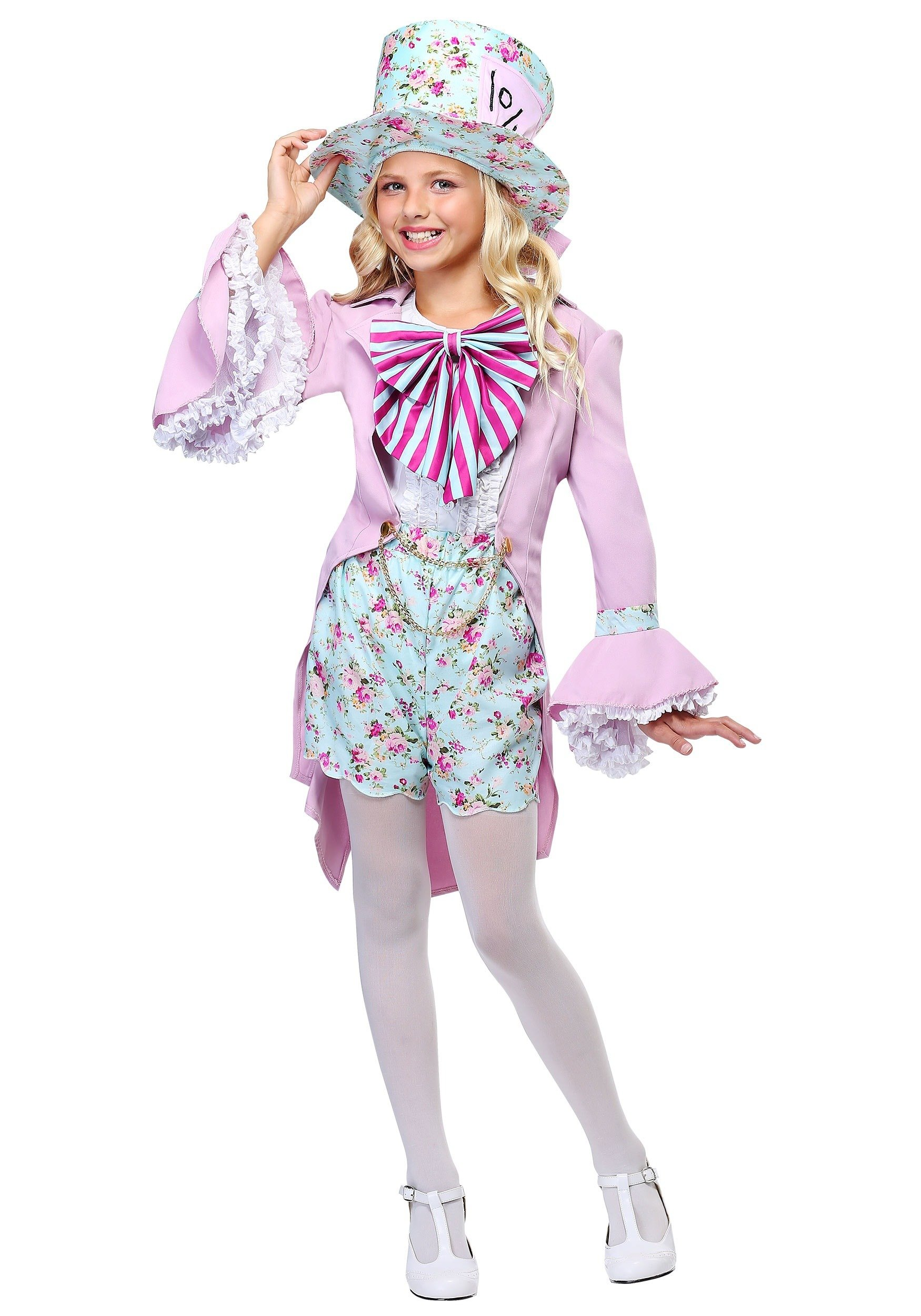Pretty Wonderland Mad Hatter Girl's Floral Pastel Costume - S