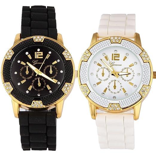 Image result for women's black white gold chronograph silicone rhinestones bezel