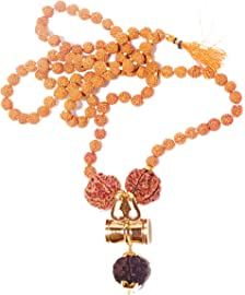 RUDRADIVINE Self Certified Damru Design Kavach Mala 5 Face Brown Rudraksha