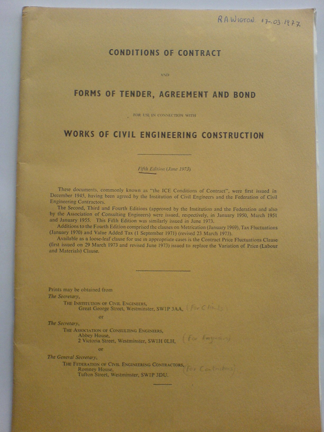 Conditions of Contract: Forms of Tender, Agreement and Bond