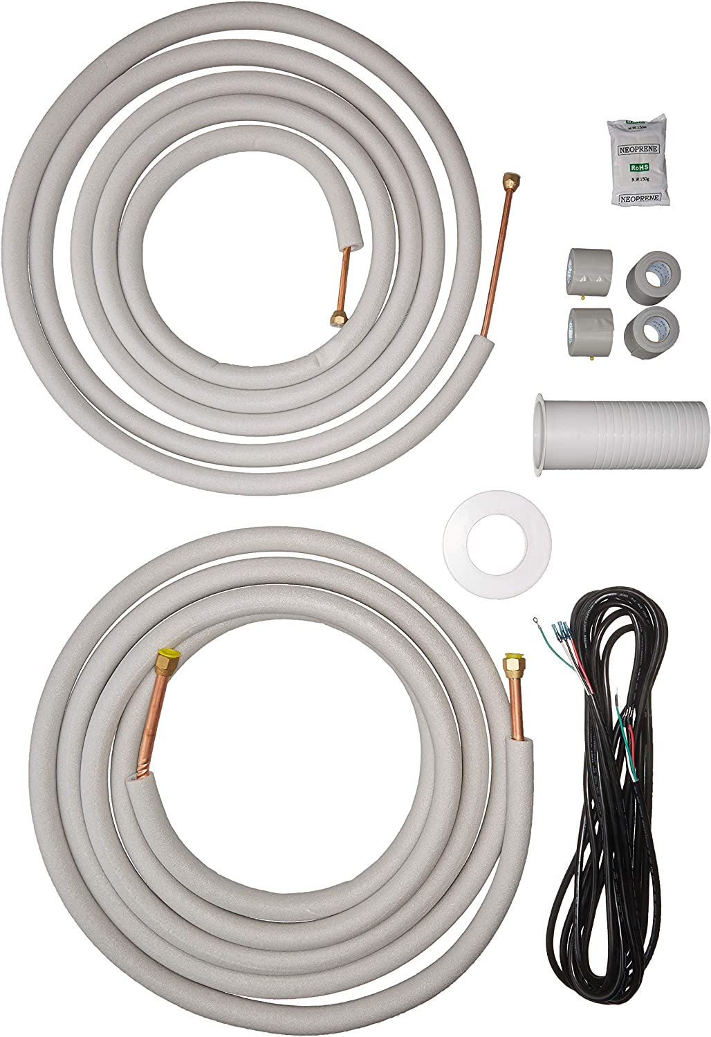 "Senville 25 Ft. Copper Pipes for Mini Split Air Conditioner, 3/8"" & 5/8"", White"