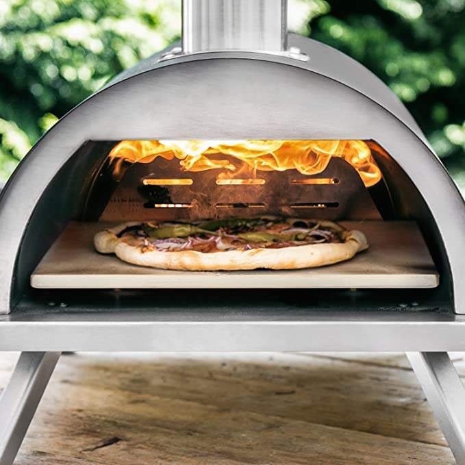 BURNHARD Horno para Pizzas Exterior de Acero Inoxidable Nero Incluye Pala y Piedra para Pizza, Horno para Pizzas de Calidad, Horno de leña Premium para el ...