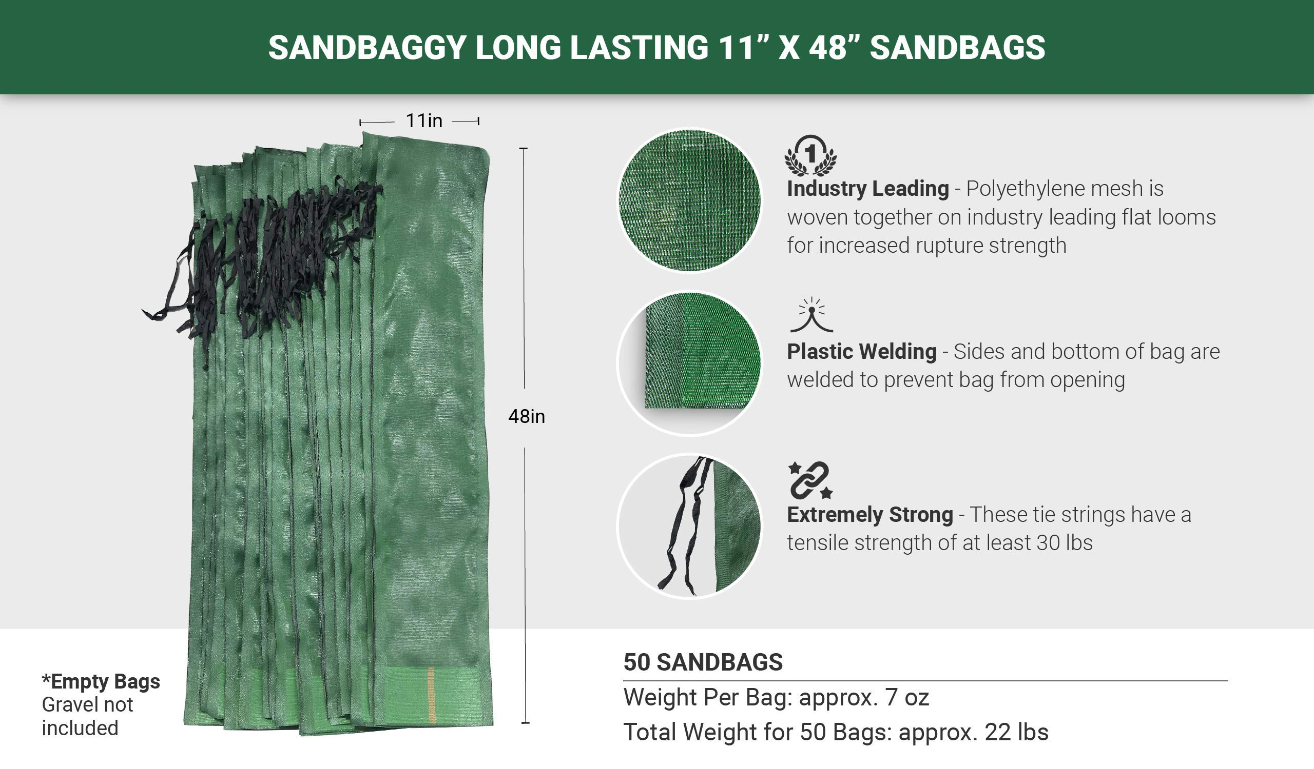 Sandbaggy - 11'' x 48'' Long-Lasting Sandbags - Lasts 1-2 Yrs - Sandbags for Flooding - Monofilament - Sand Bag - Flood Water Barrier - Water Curb - Tent Sandbags - Store Bags (Pack of 50) by Sandbaggy