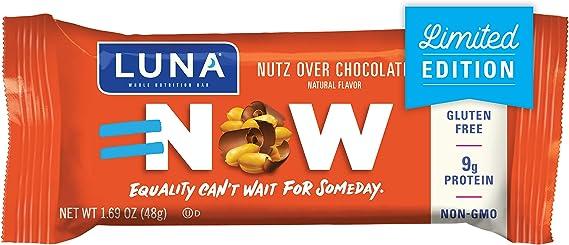 LUNA BAR - Gluten Free Snack Bar - Nutz Over Chocolate Flavor - (1.69 Ounce Snack Bars
