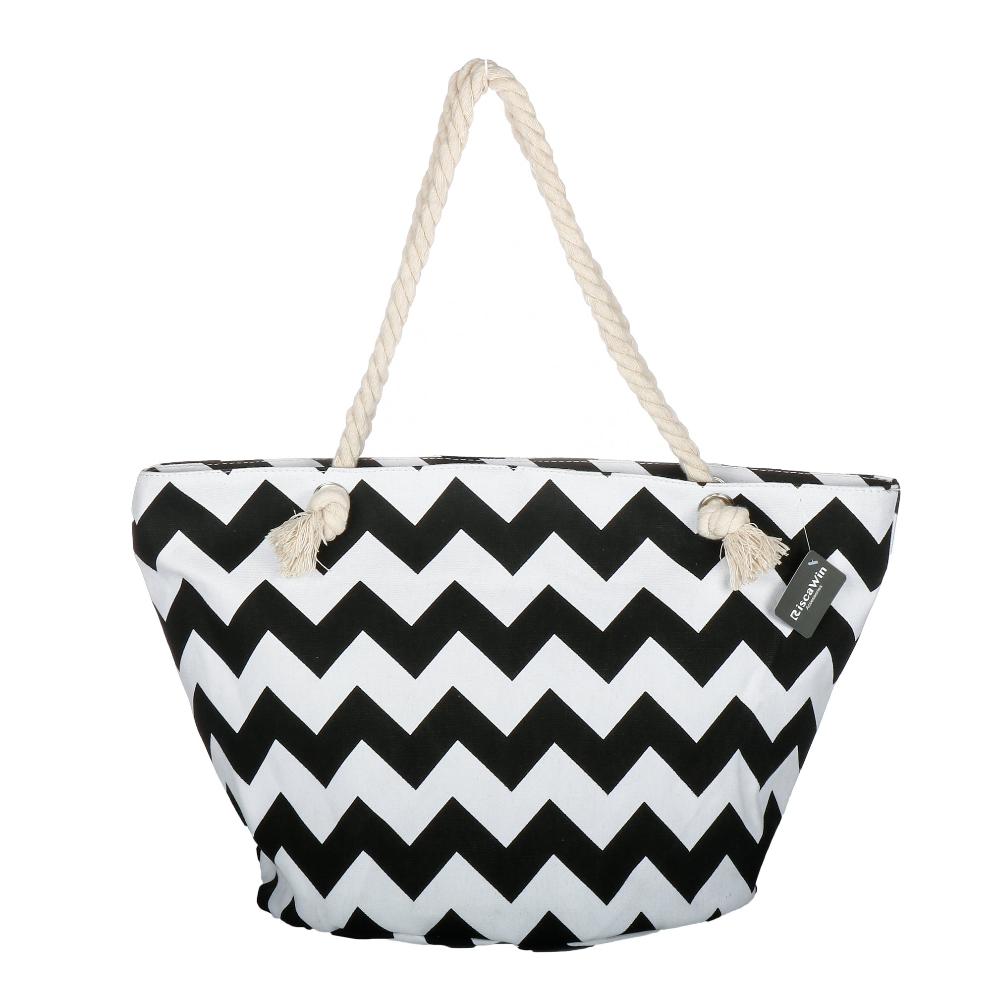 Large Cotton Beach Bag Tote ,RiscaWin Zipper Top Rope Handles Beach Bag(Black Chevron)