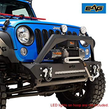 Eag Stubby Front Bumper With Led Light Bar And Winch Plate Fit For 07 18 Jeep Wrangler Jk