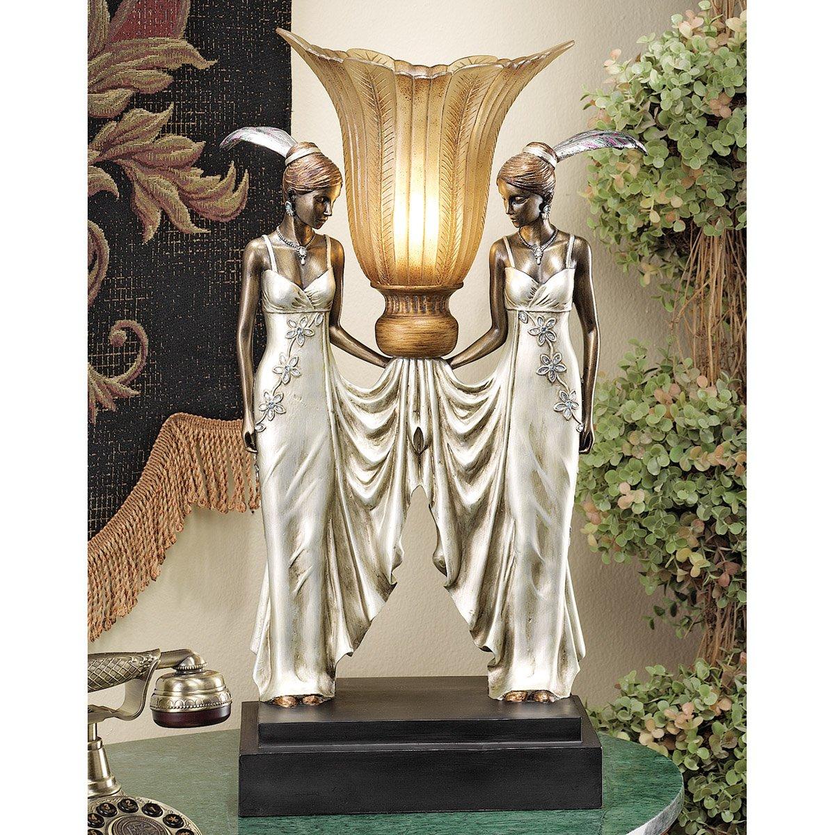 Amazon.com: Design Toscano Art Deco Peacock Maidens Illuminated Statue:  Kitchen U0026 Dining