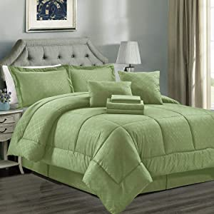 JML Comforter Set, 8 Piece Microfiber Bedding Comforter Sets with Shams - Luxury Solid Color Quilted Embroidered Pattern, Perfect for Any Bed Room or Guest Room (Lemon, Twin)