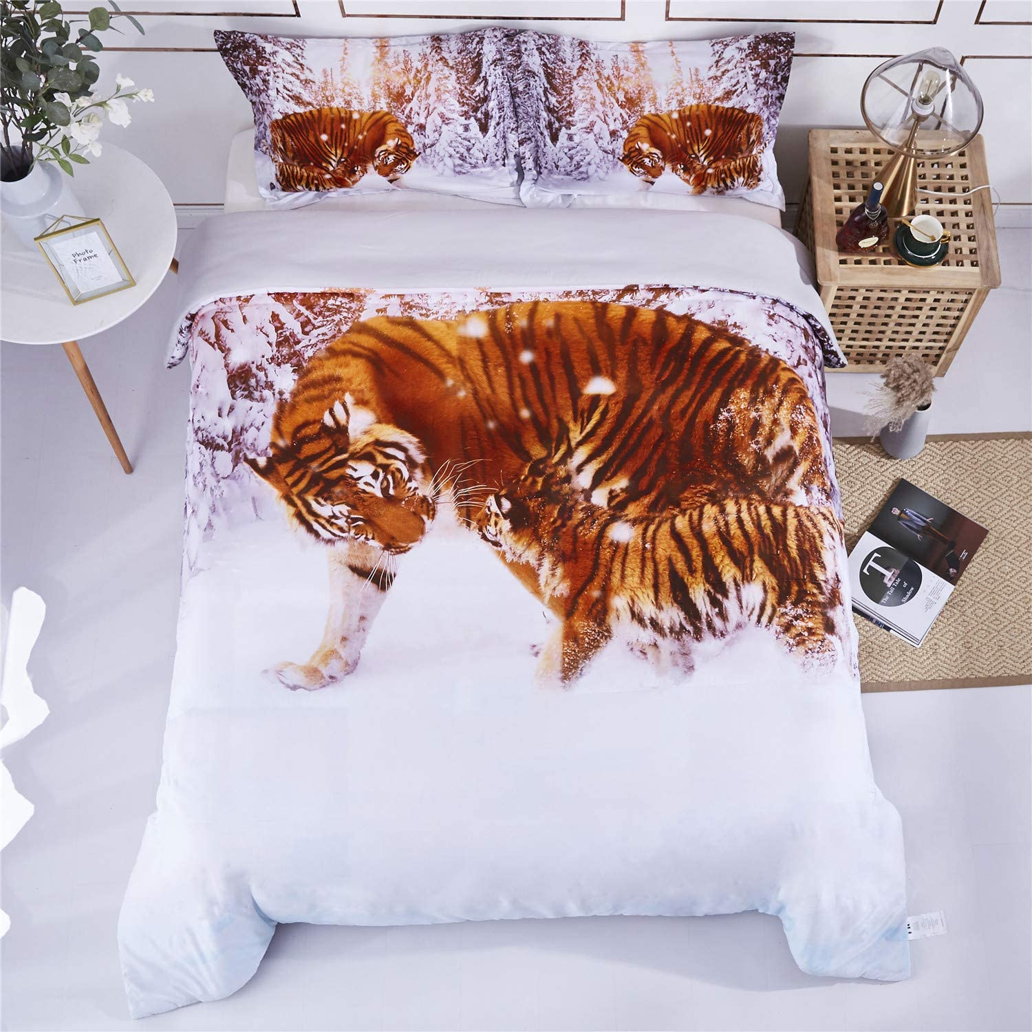 HIG 3D Bedding Set 3 Piece Queen Size Winter Tiger Animal Print Duvet Cover with Two Matching Pillow Covers -Super Soft Duvet Cover -General for Men and Women Especially for Children (P28,Queen)