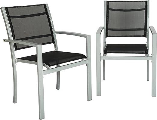 TecTake Juego de 2 Sillas de jardín sillón balcón terraza silla de ...